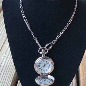 Stunning Fossil Locket Watch Necklace!